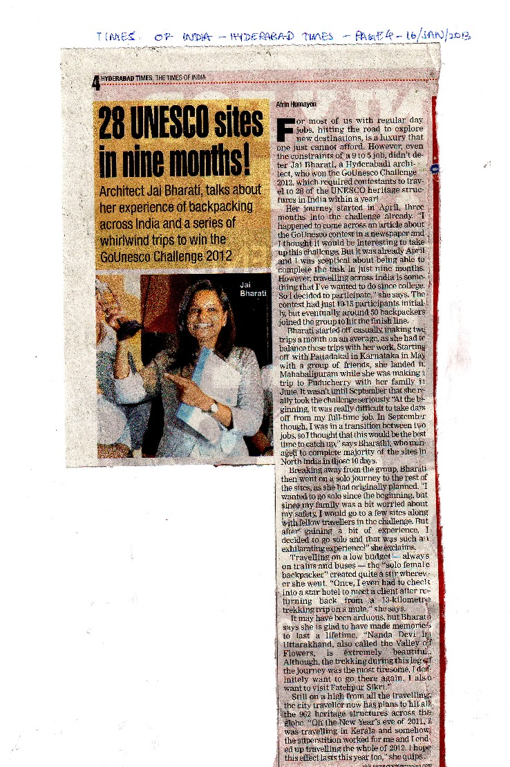 Times of India - GoUNESCO