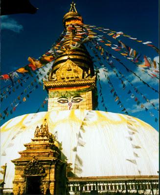 The Swayambhunath Stupa in Kathmandu, Nepal