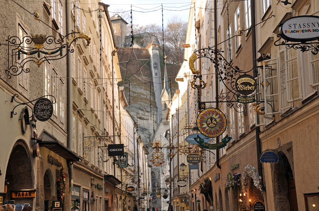 The Signs Along the Famous Getreidegasse in Salzburg
