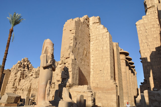 Pharaoh and Columns at Karnak Temple Complex