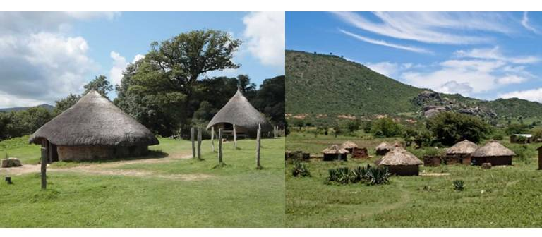 Photo Credit: Left: Roundhouses - Celtic Houses, Cross (2015); Right: Rounded huts, Luo Nyanza, Webika Ltd., (2016)