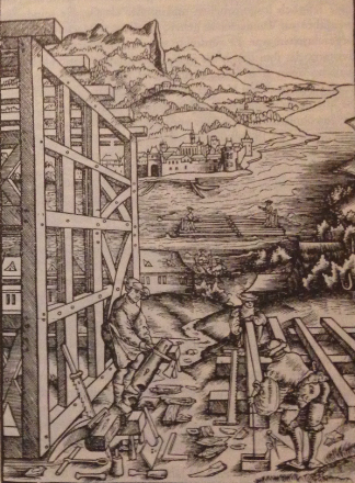 A Wood engraving shoving the construction of a half-timbered building; Sommern, H. Rodler 1531