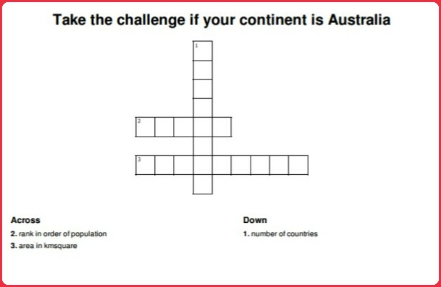 Solve the crossword if your continent is Australia.