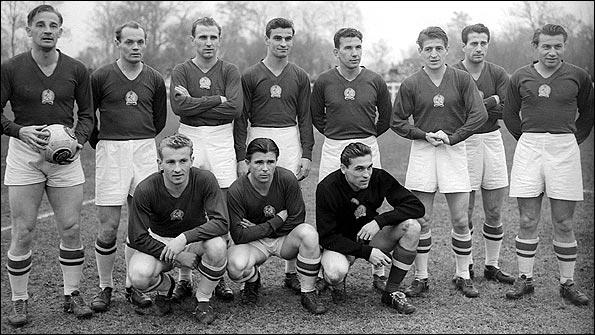 The Golden Team in 1953 front row: Mihály Lantos, Ferenc Puskás, Gyula Grosics back row: Gyula Lóránt, Jenő Buzánszky, Nándor Hidegkuti, Sándor Kocsis, József Zakariás, Zoltán Czibor, József Bozsik, László Budai Source: hungarytoday.com