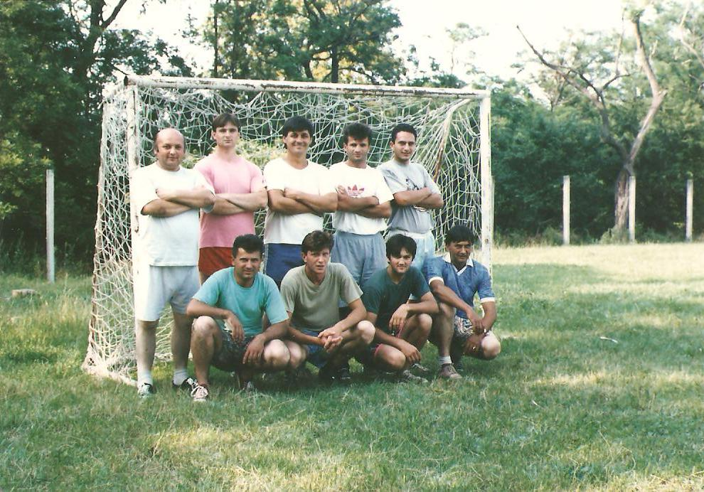 Part of the local football team, seniors, the nineties (my dad first from