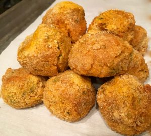 Boudin Balls just out of the oven. Photo Credit: Kathleen DesOrmeaux July 2016