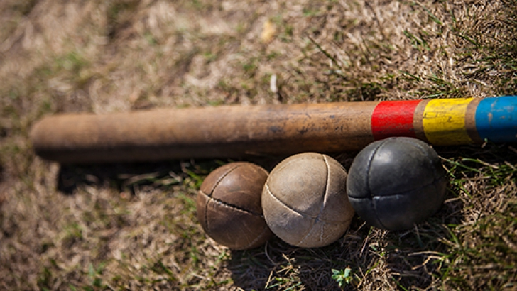 The specific equipment for oina: bat and ball