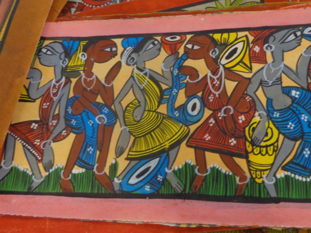 Changing times- Stylised Midnapore paintings, quite different from the traditional style. (Unfolding a Painted World: Revisiting Kalighat Paintings)