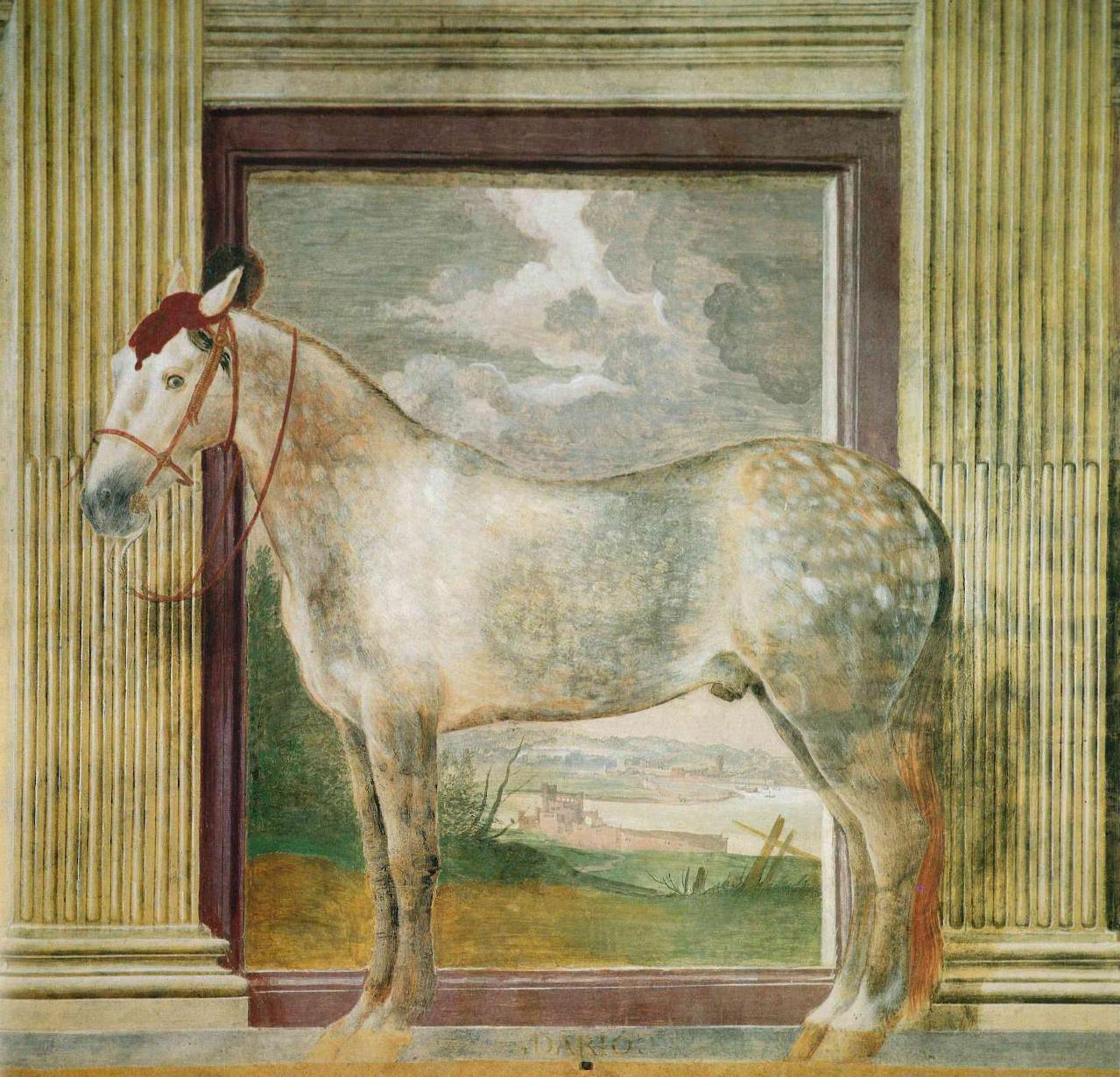 Hallof the Horses - Detail of the North wall Credit - Giulio Romano: une maniere extravagante et moderne, p. 109. Gérard Julien Salvy, Lagune, Paris 1994.