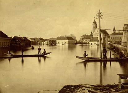 Flood in 1879: In the background: St. Demetrius Church