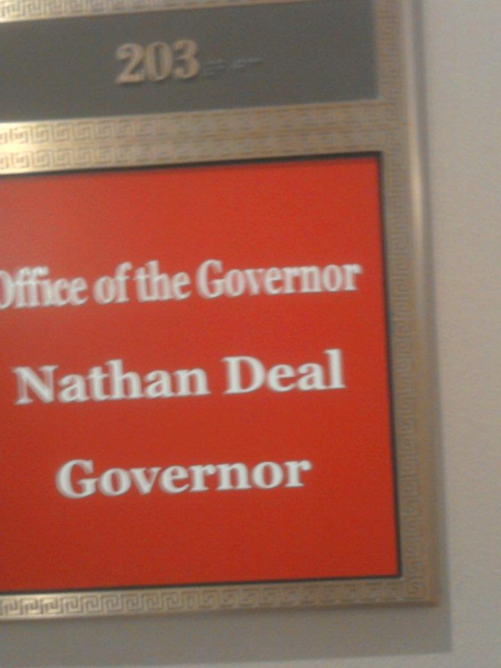 Current Governor, Nathan Deal's office label outside the door