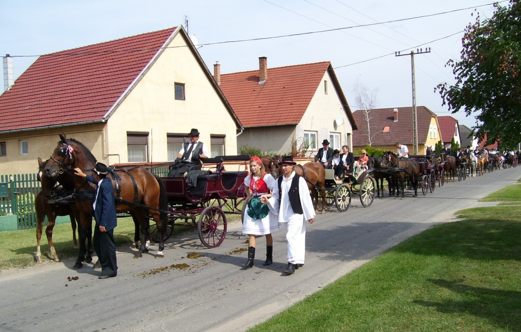 Csősz pair and horse-drawn carriages