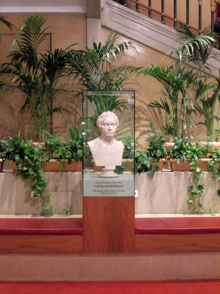 A statue of Ludwig van Beethoven inside the Konzerthaus