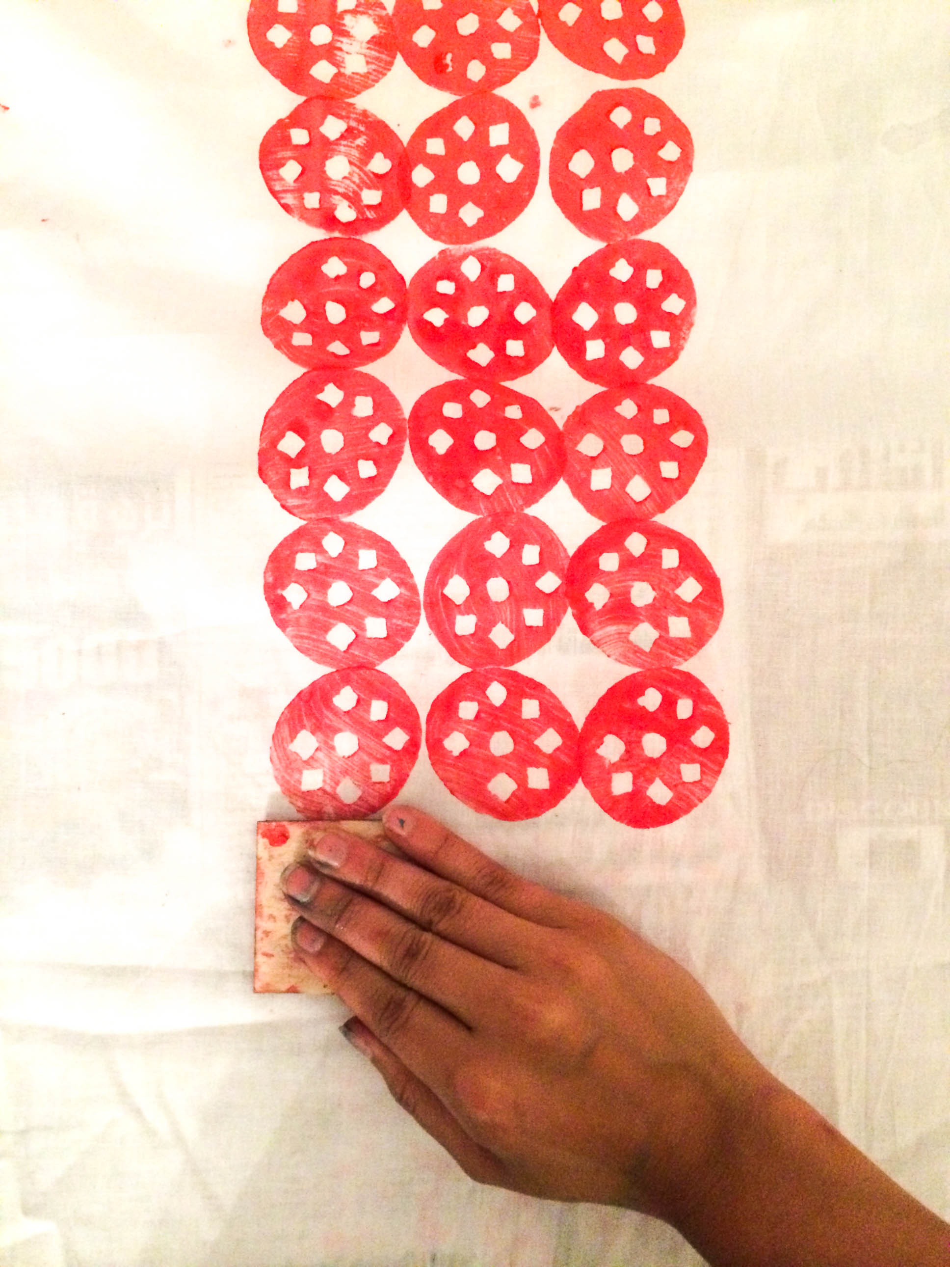 Experimenting  patterns in a Block printing technique on fabrics.