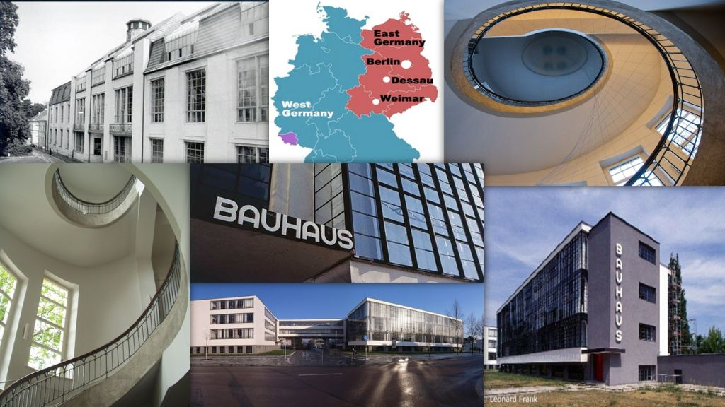 Collage of the Bauhaus and its Sites in Weimar and Dessau