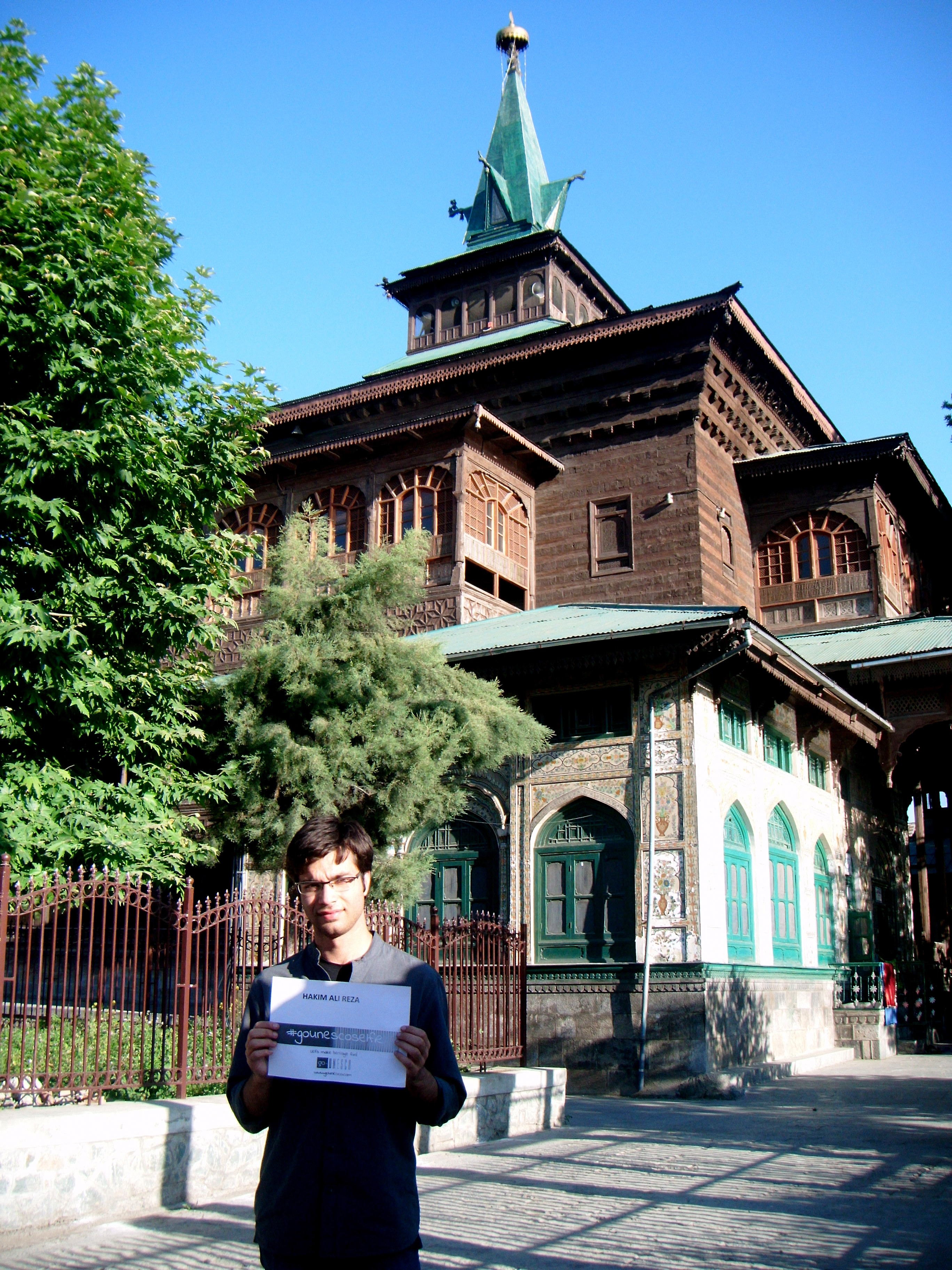 The Khanqah-i-Maulla also known as Shah-i-Hamdan is a shrine located in the old city of Srinagar in Jammu and Kashmir. The khanqah was  built in 14th century (r. 1733AD) during Sultan Sikander's reign on the site of sufa (raised floor) constructed by Mir Syed Ali Hamdani, son of the governor of Hamdan, a province in Iran, who was responsible for introducing kaburwi Sufi order in Kashmir. The khanqah lies on the right bank of river Jhelum and is one of the best examples of traditional monumental wooden architecture entirely constructed of solid wooden blocks used as headers and stretchers with brick infill. It consists of two storied building square in plan standing on a well-dressed stone foundation This shrine holds a high significance towards the history of the Srinagar city as its construction marked the beginning of a new religious belief and even today, almost after six centuries of the construction of this hospice, it is visited by a huge number of local as well as national and international tourists and caters to many large religious gatherings.   The overall experience of the visit was great, as the building in itself is awe-inspiring, and being a religious monument, one can feel the divine aura associated to it.