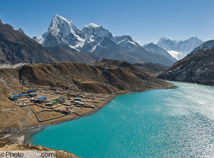 Third Gokyo Lake (Dudh Pokhari, 15,584 feet / 4750 meters), in Sagarmatha National Park, Nepal, in the Himalaya mountain range of Asia.