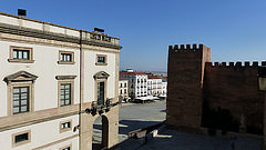 """I visited this WHS in August 2014. I spent 1 night here in a hotel overlooking the central Plaza Mayor. The different styles of architecture are immediately visible from there (picture). Unfortunately in August there were no storks to be seen although I could see their nests everywhere but I was extra lucky to spot a domestic peacock walking freely on one of the tower walls! The historic centre is full of towers some of which are open to the public. The episcopal palace and church are worth visiting as well as the Puerta Merida and Jewish Quarter. The highlight of my visit was wandering about the narrow roads and alleys early in the morning, where I was lucky enough to see some """"peregrinos"""" on there way to Santiago de Compostela and where I met a 94 year old priest who kindly gave me a detailed overview of the history of Caceres over time. I won't count my visit to Caceres and other sites I visited around Spain (such as nearby Burgos, San Millan de la Cogolla, Salamanca, etc.) as a valid visit to the Route of Santiago de Compostela in Spain as I intend to do the real thing next year when I embark on the Camino from France to Santiago."""