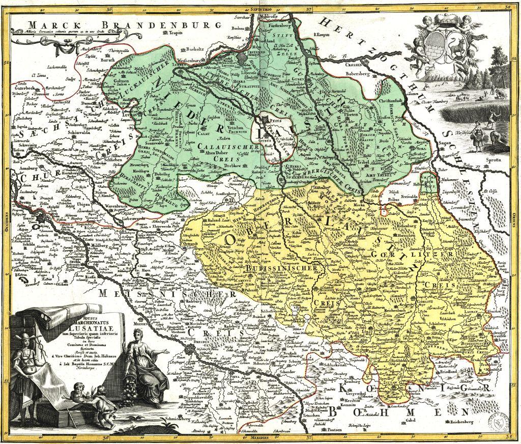 Johann Hübner & Johann Baptist: Totius Marchionatus Lusatiae tam superioris quam inferioris Tabula specialis in suos Comitatus et Dominatus distincta. Norimbergae//Nürnberg,