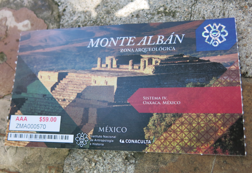 Ticket from Monte Alban - Oaxaca, Mexico