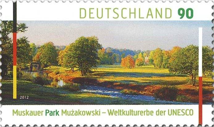 Stamp of the Muskauer Park in Germany.