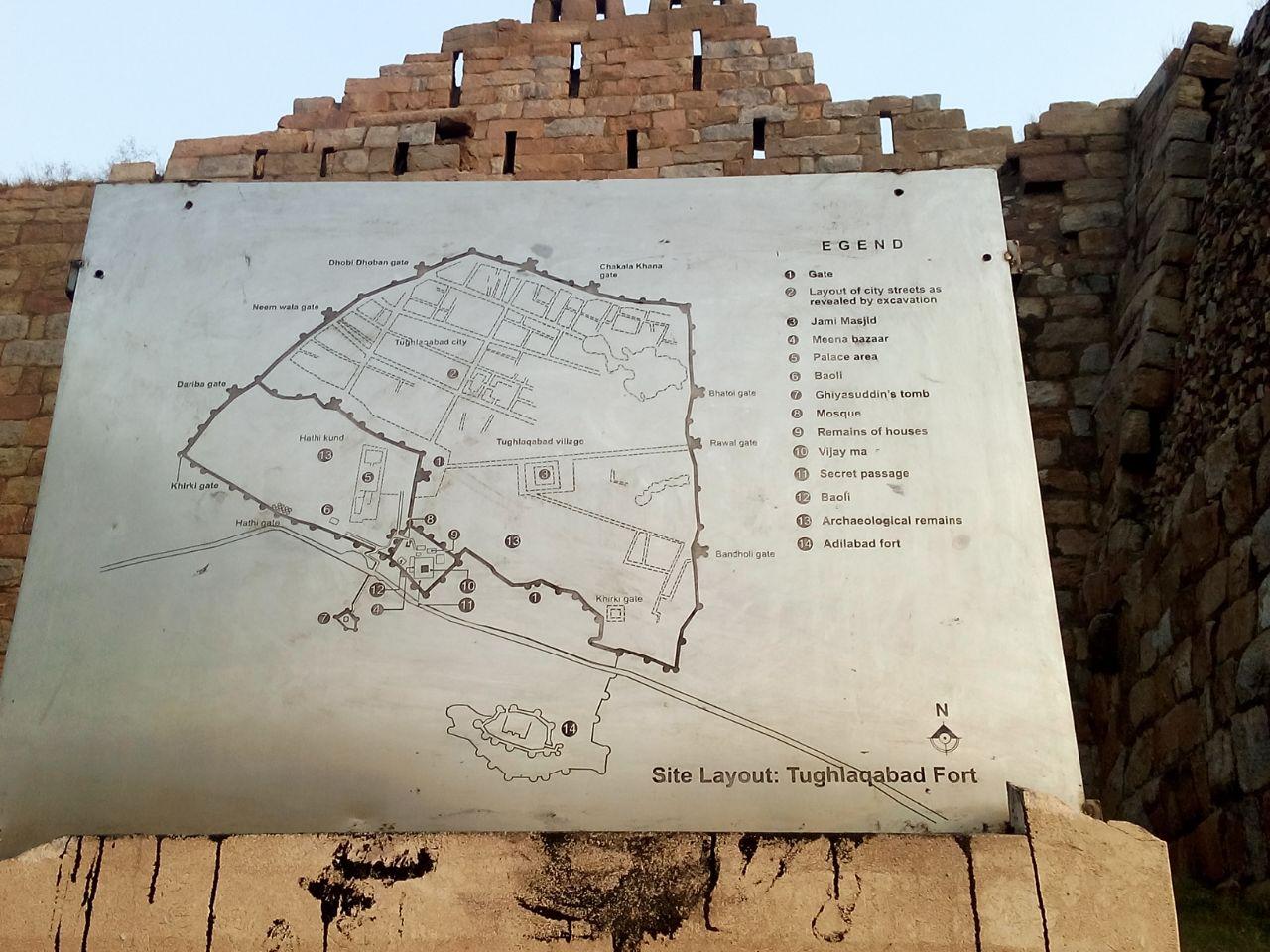 Map of Tughlaqabad Fort