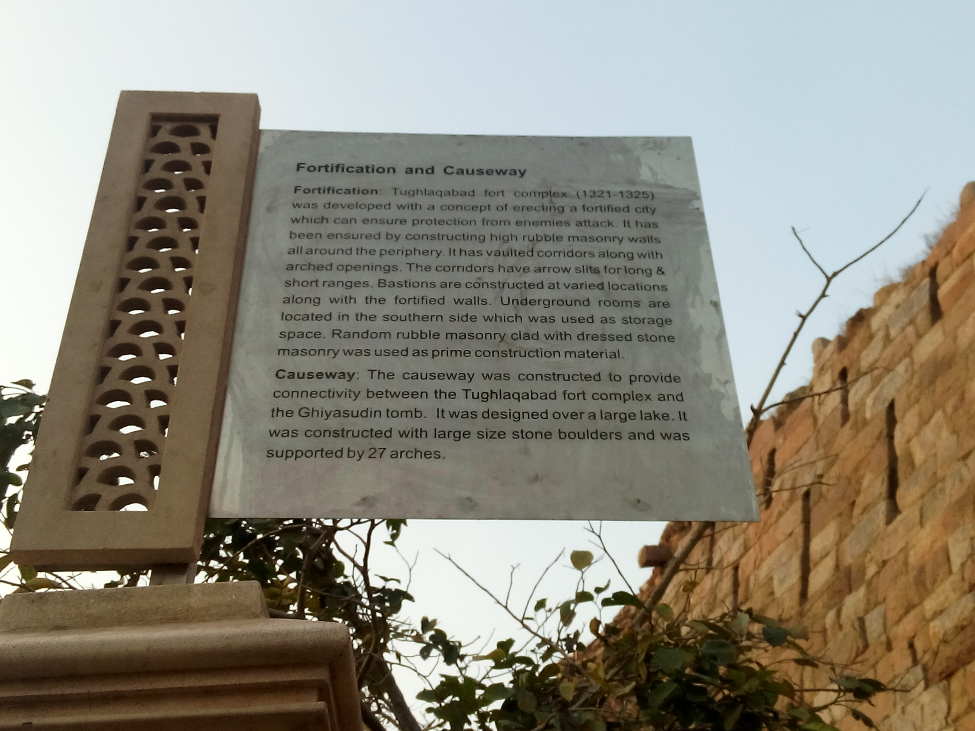 Board outside Tughlaqabad Fort