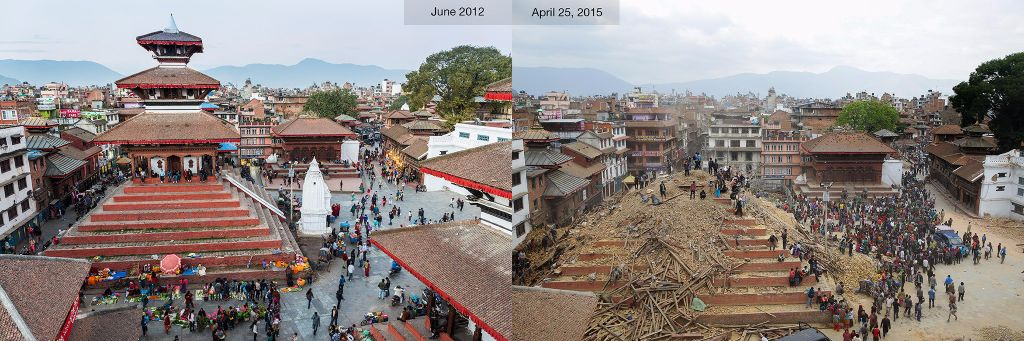 Kathmandu Durbar Square- before and after the earthquake [Source: National Geographic]