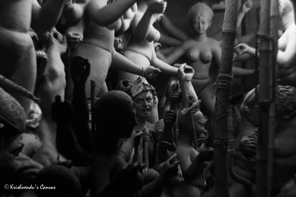 Durga Idols being made at Kumaratuli Kolkata