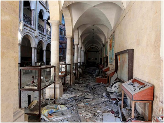 Damage caused by looting and vandalism at a museum in Aleppo. (UNESCO and Professor Abdulkarim) Picture: http://savingantiquities.org/syriasculturalheritageindangerwhatcanwedo/