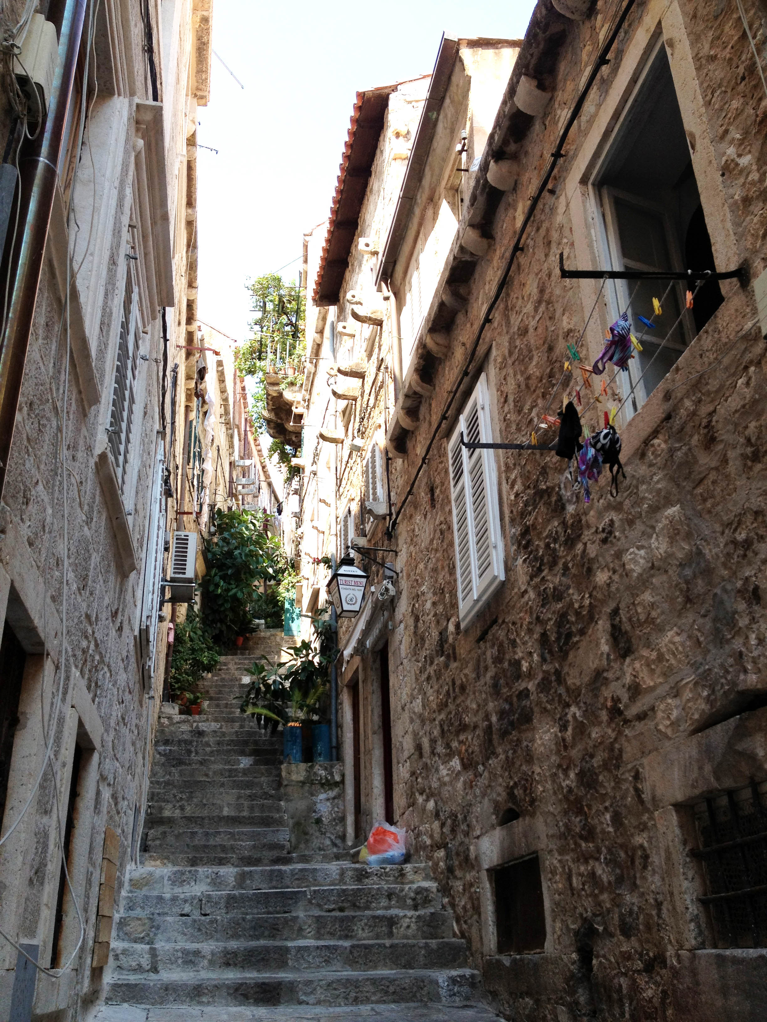 Narrow streets with steps for the hilly topography