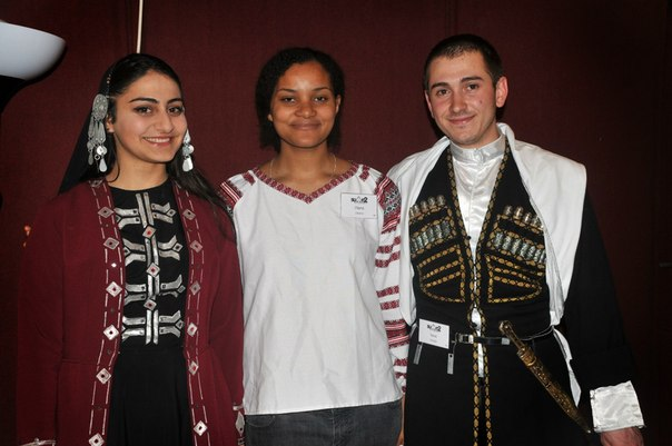 International student summit in Budapest. Friends from Georgia. Beautiful national wear.