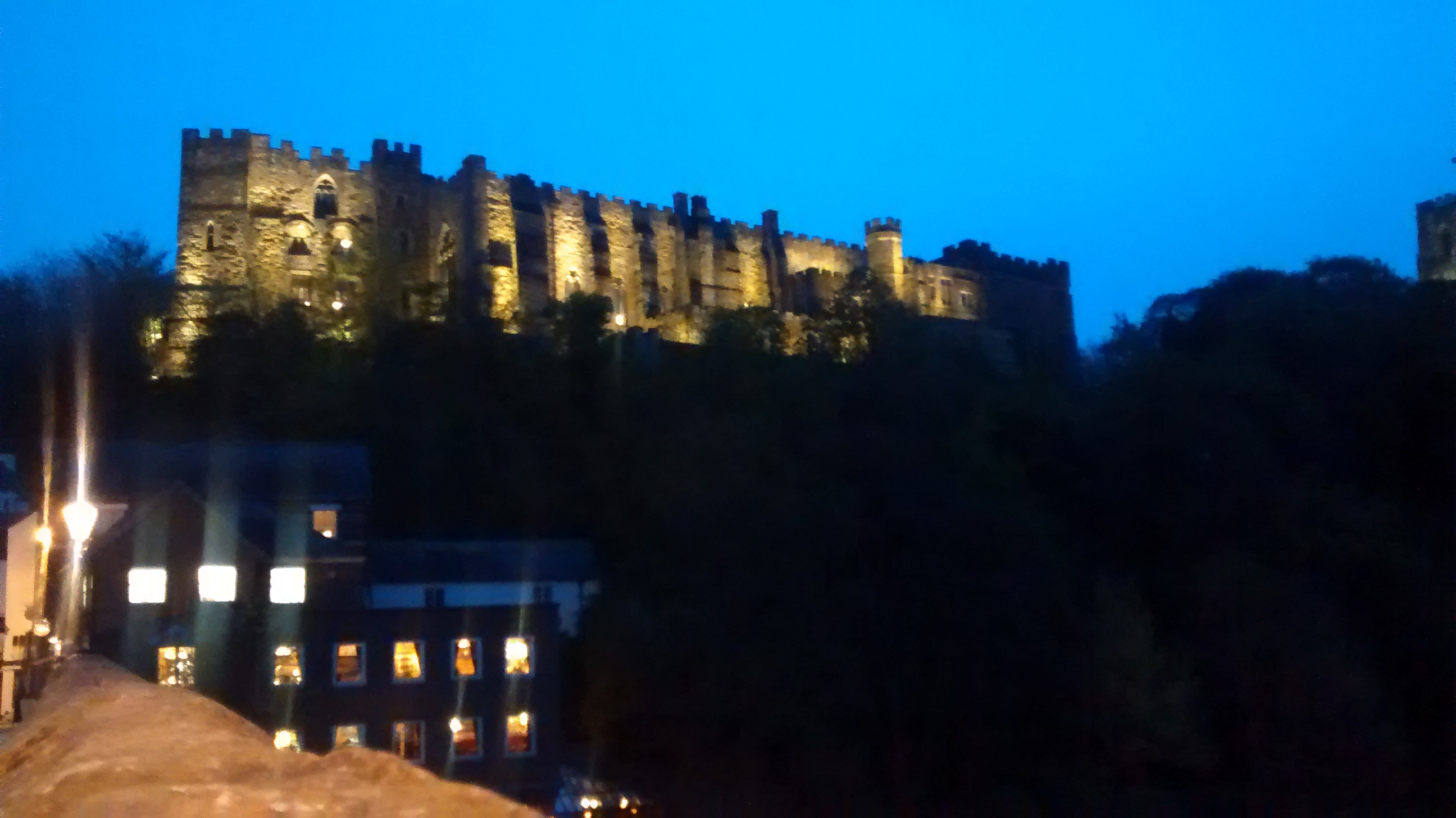 Durham castle at night