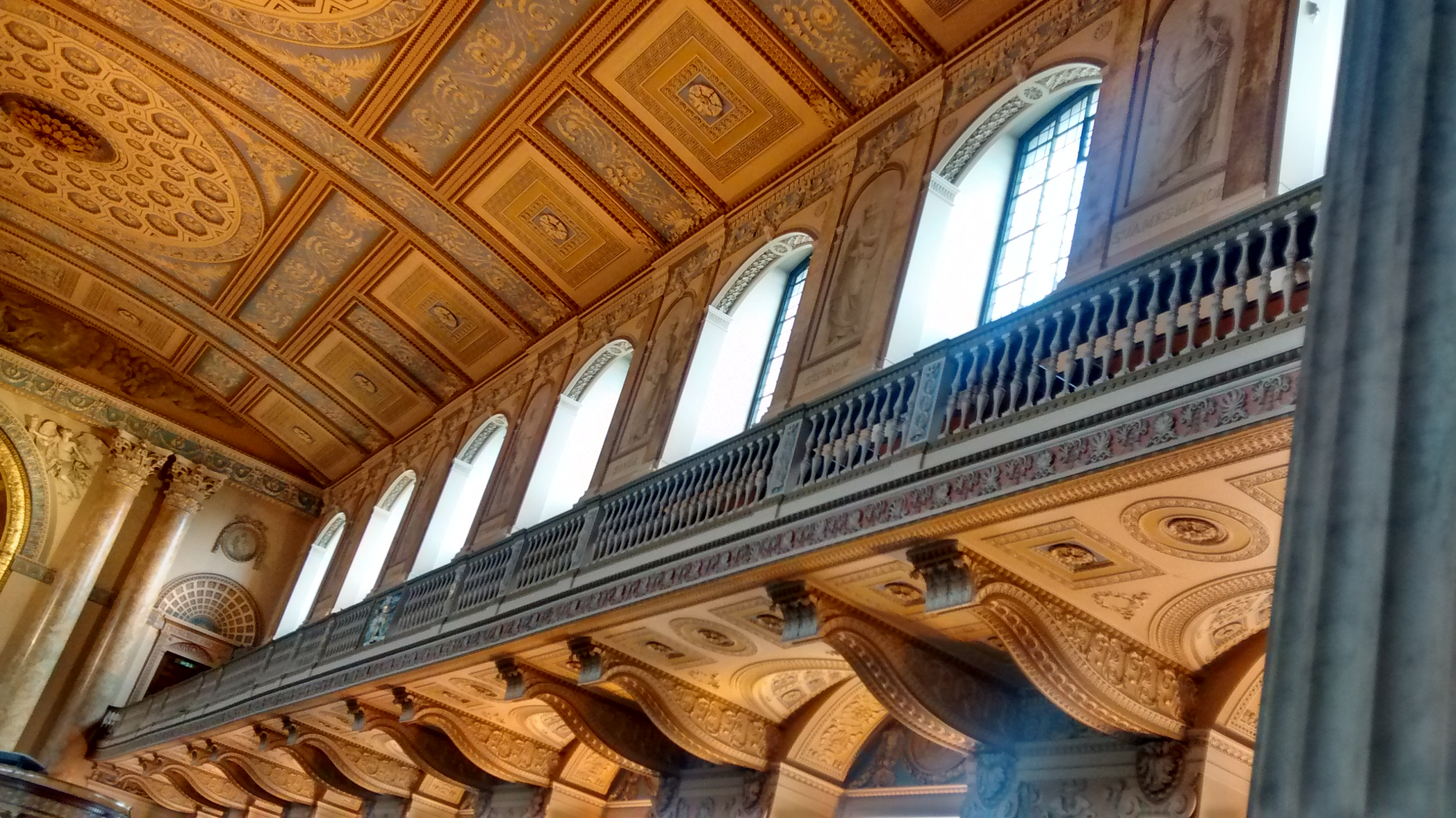 The beautifully restored ceiling of Painted Hall and Chapel