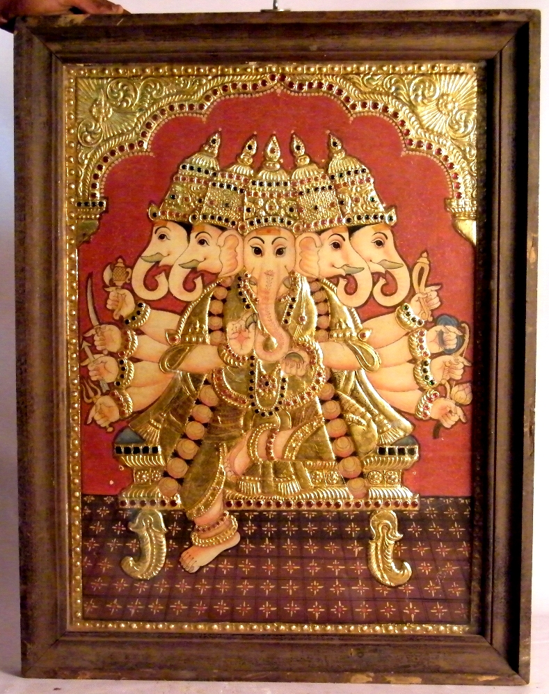 Tanjore Art depicting Lord Ganesh. Photo Credits: Kannan Kuttapm