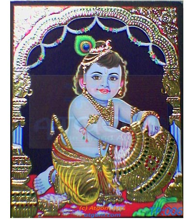 Tanjore Painting depicting Baby Krishna. Photo Credits: Uttara Nighoskar
