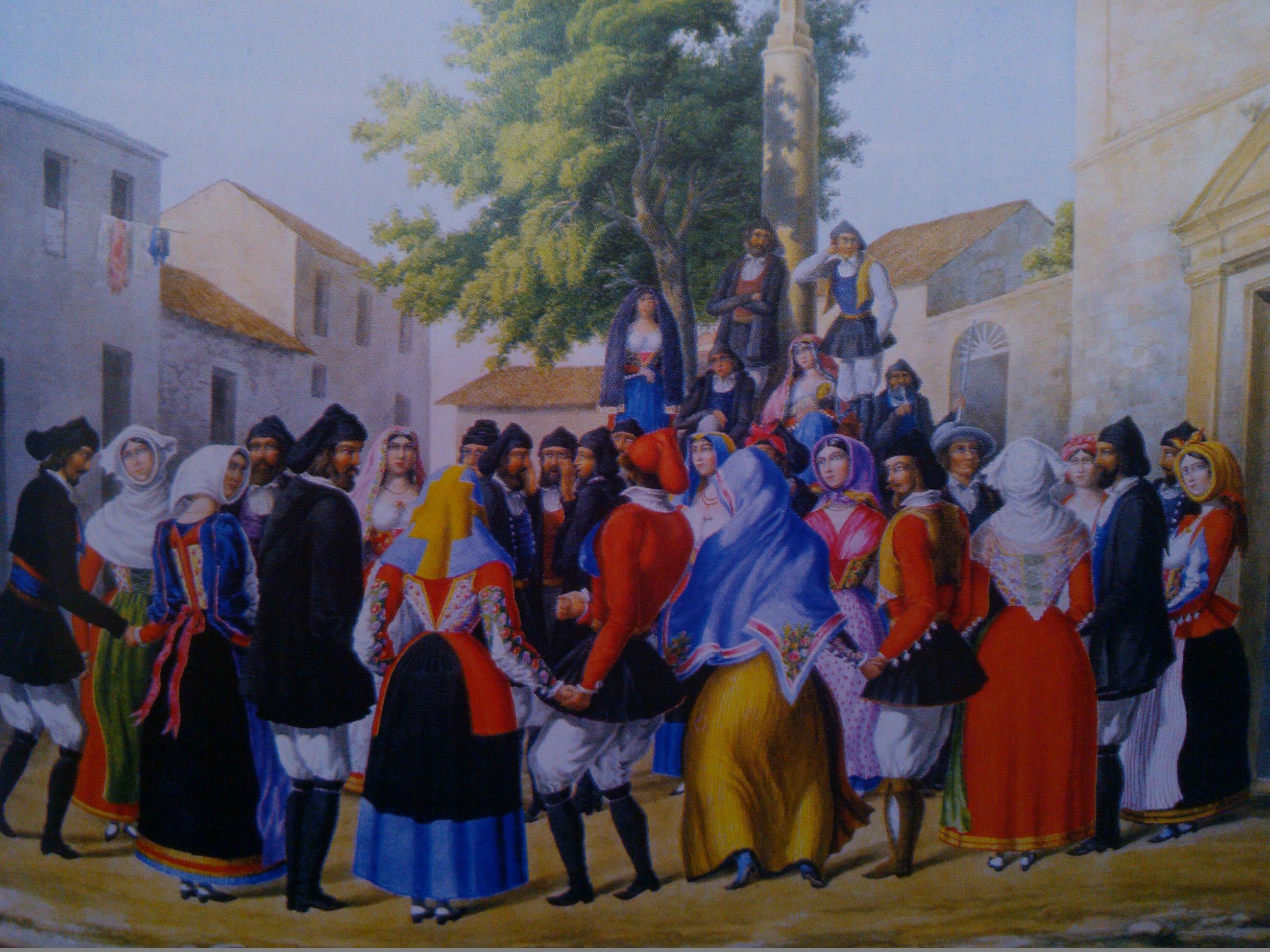 """""""Su ballu tondu a cantigu in su patiu de Cheja"""", watercolour by S.Manca di Mores, 1861"""