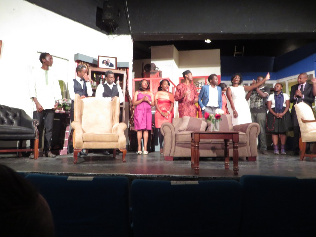 The cast being introduced at the end on the play.