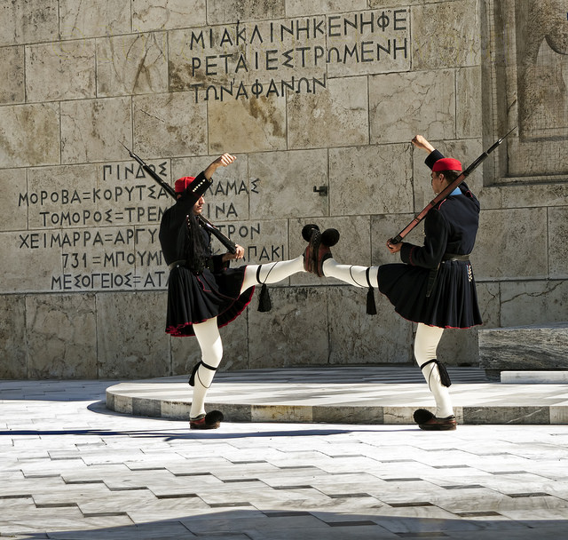 Guards at the Tomb of the Unknown Soldier, Athens Picture Courtesy: Neil Howard