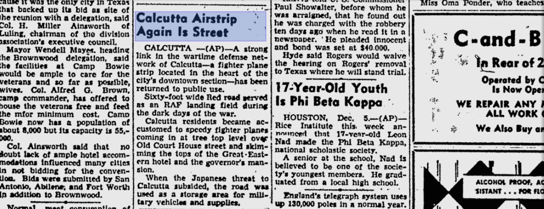 Newspaper article from The Victoria Advocate, December 3, 1945