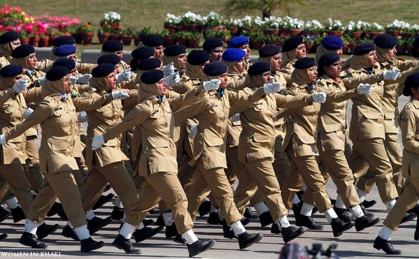 Female officers of Pakistan Army marching during Pakistan Day Parade Source: Twitter