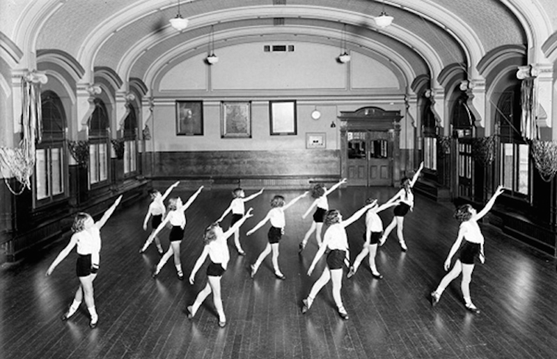 This photo was probably taken soon after the formation of the ladies physical culture class in 1931 at the ballroom. Photo credit: flindersstreetstation.com.au